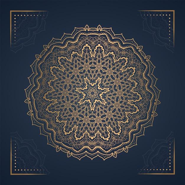 Ornamento mandala background para convite de casamento Vetor Premium