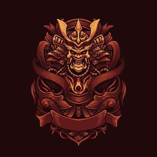 Ornamento ninja ilustração em vetor arte Vetor Premium