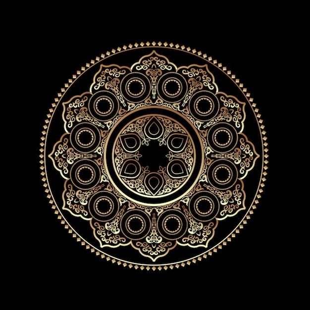 Ornamento redondo dourado 3d - árabe, islâmico, estilo do leste Vetor Premium