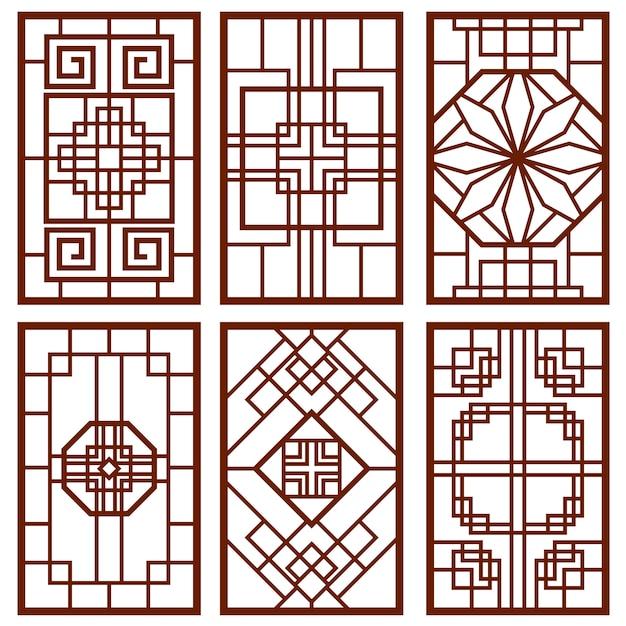 Ornamento tradicional porta e janela coreano Vetor Premium