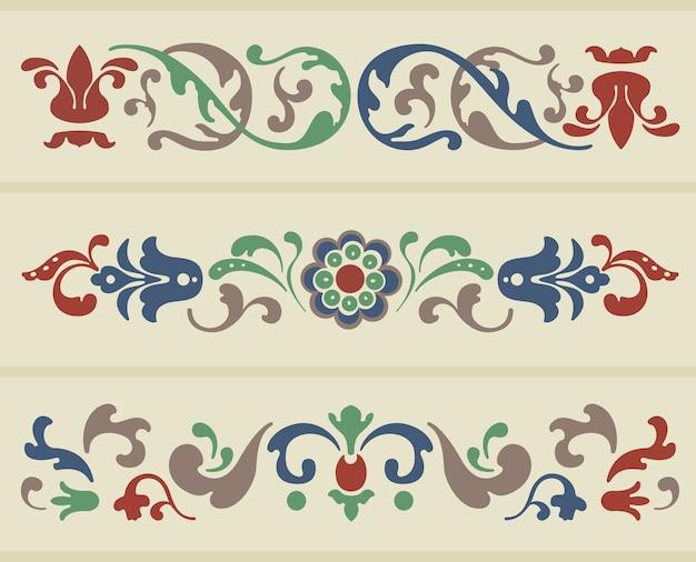 Ornamento tradicional russo em três versões em vetor Vetor grátis
