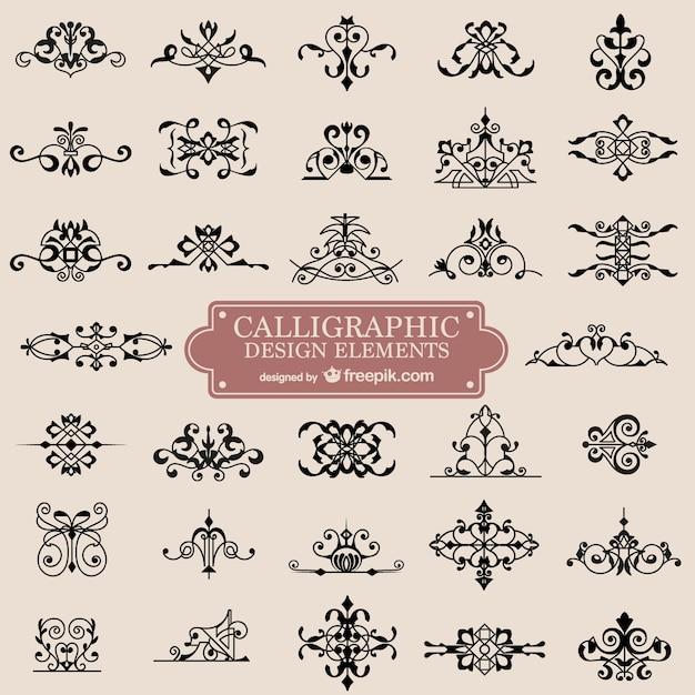 Ornamentos caligrafia retro redemoinho Vetor grátis