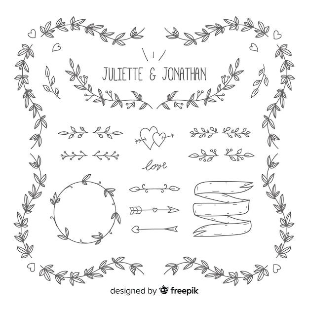 Ornamentos de casamento mão desenhada Vetor grátis