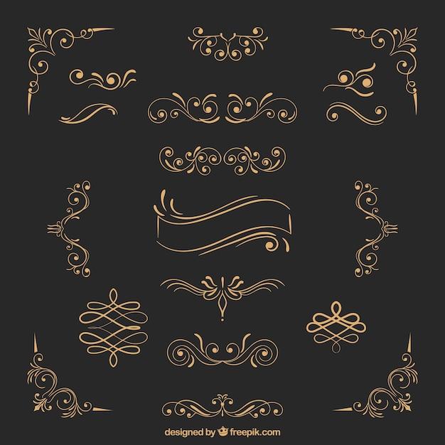 Ornamentos de ouro Vetor Premium