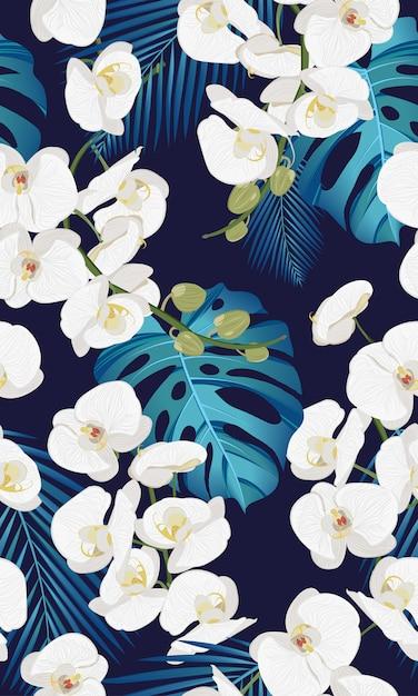 Orquídea branca floral padrão sem emenda com folhas tropicais Vetor Premium