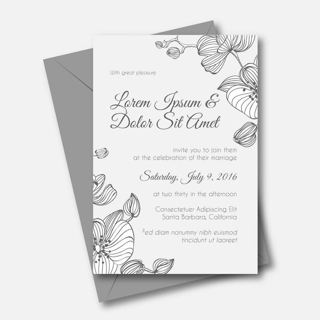 Orquídea convite de casamento desenhado a mão Vetor Premium