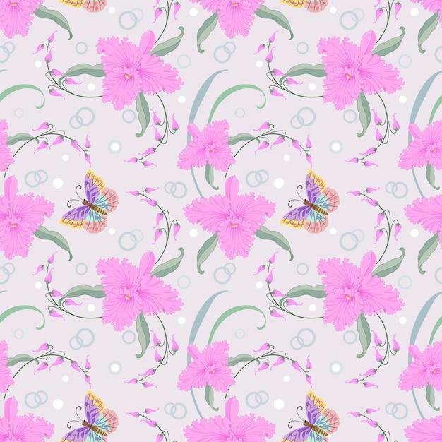 Orquídeas cor de rosa e borboleta padrão sem emenda. Vetor Premium