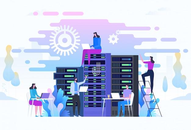 Os administradores de sistema ou administradores de sistemas estão atendendo aos racks do servidor. Vetor Premium