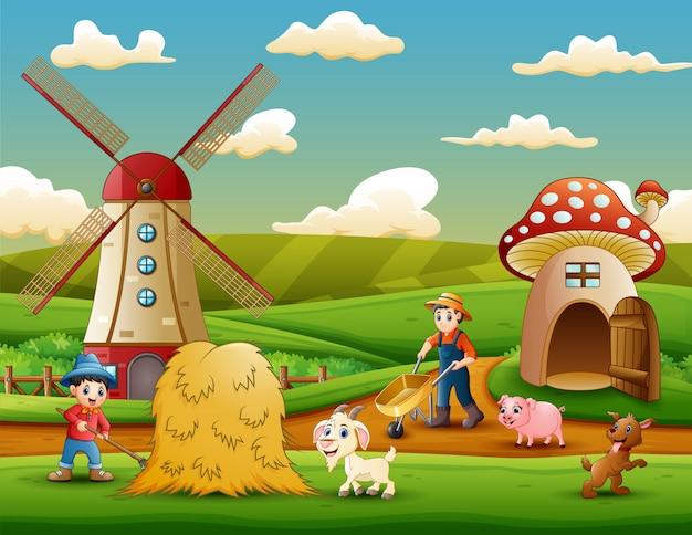 Os agricultores trabalhavam na fazenda Vetor Premium