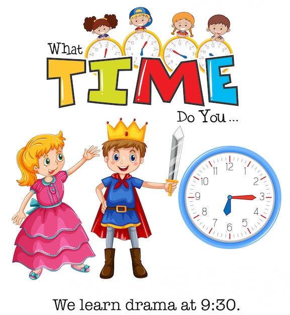 Os alunos aprendem drama às 9:30 Vetor grátis