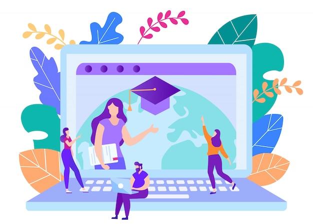 Os alunos assistem o curso de treinamento on-line no laptop. Vetor Premium