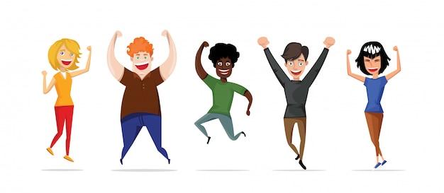 Os alunos estão pulando em um fundo branco. Vetor Premium