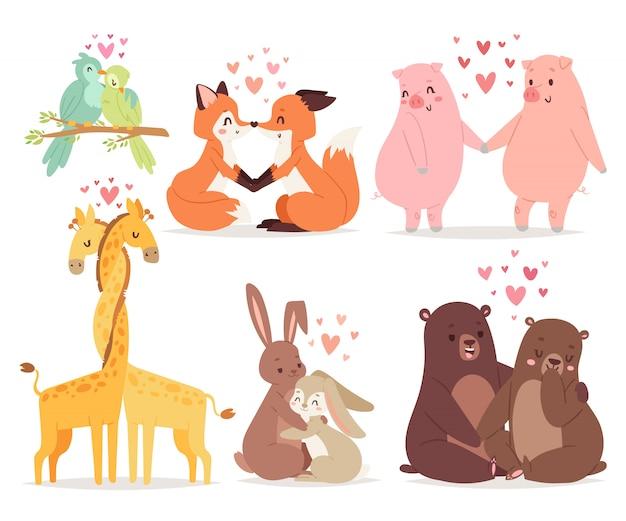 Os animais acoplam-se na ilustração do vetor do feriado do dia de valentim do amor. Vetor Premium