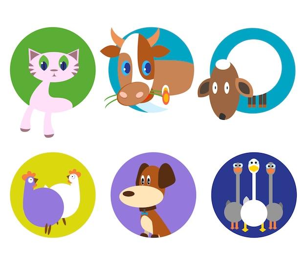 Os animais bonitos vector o grupo do teste padrão, ilustrações no fundo colorido. ícones de animais de estimação engraçado Vetor Premium
