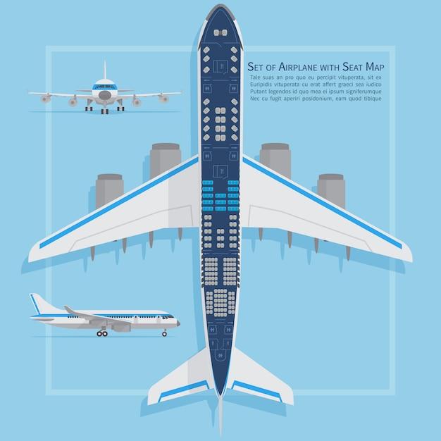 Os assentos de aviões planeiam a vista superior. o negócio e a economia classificam o mapa interno da informação do avião. ilustração vetorial assento de avião gráfico, plano, de passageiro de aeronave Vetor Premium