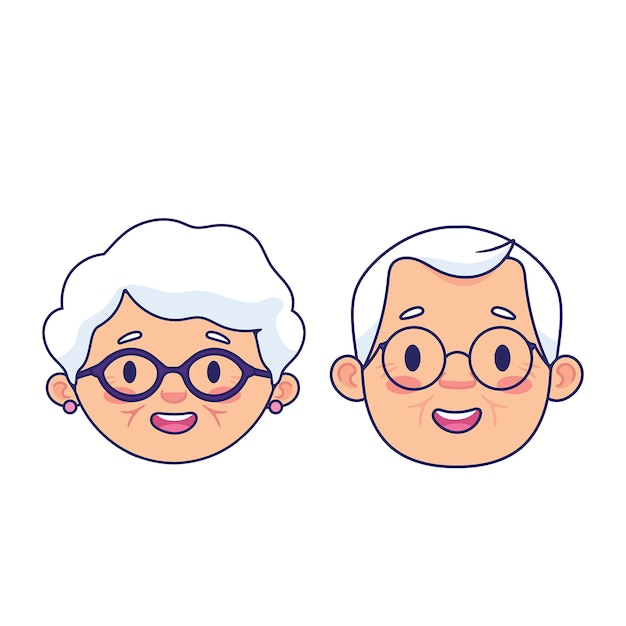 Os avós enfrentam o conjunto Vetor Premium