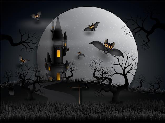 Os bastões do partido de halloween que voam na noite com lua cheia. Vetor Premium