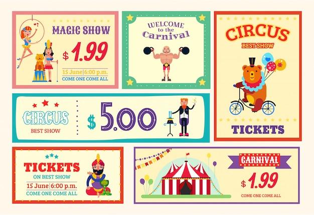 Os bilhetes do cartão do cartaz da bandeira do divertimento do circo ajustaram a ilustração. carnaval de espetáculos circenses diferentes, show de mágica, animais selvagens treinados, aéreoistas e atletas. Vetor Premium