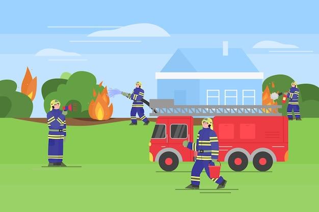 Os bombeiros apagam um incêndio ao ar livre. bombeiros uniformizados usam extintor e água da mangueira e do balde para extinguir o fogo pela casa. Vetor Premium