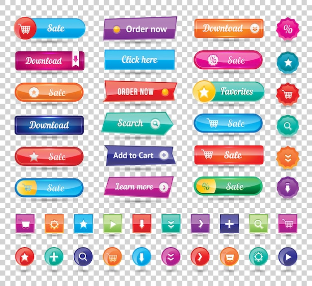 Os botões redondos longos coloridos do web site projetam a ilustração do vetor. botões brilhantes, botões do site Vetor Premium