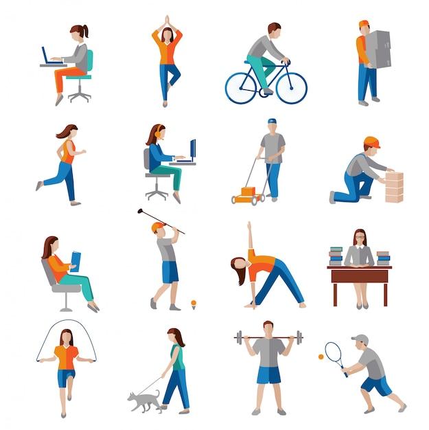 Os caráteres saudáveis do estilo de vida da atividade física ajustados isolaram a ilustração do vetor. Vetor Premium