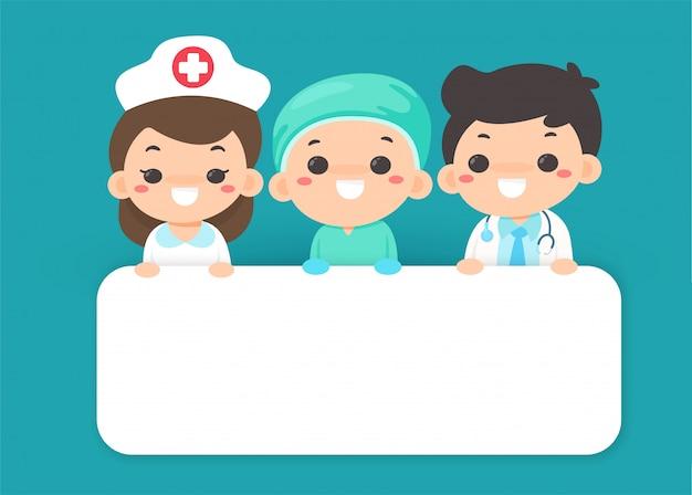 Os cartoons de vetor agradecem aos médicos e enfermeiras que trabalham duro na luta contra o vírus corona. Vetor Premium