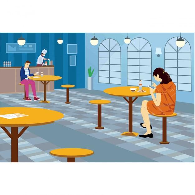 Os clientes estão mantendo distância enquanto comem no restaurante Vetor Premium