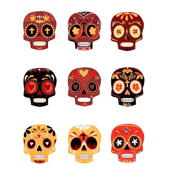 Os crânios coloridos decorativos ajustaram o dia da ilustração inoperante do vetor. diâmetro mexicano de los muertos. Vetor Premium