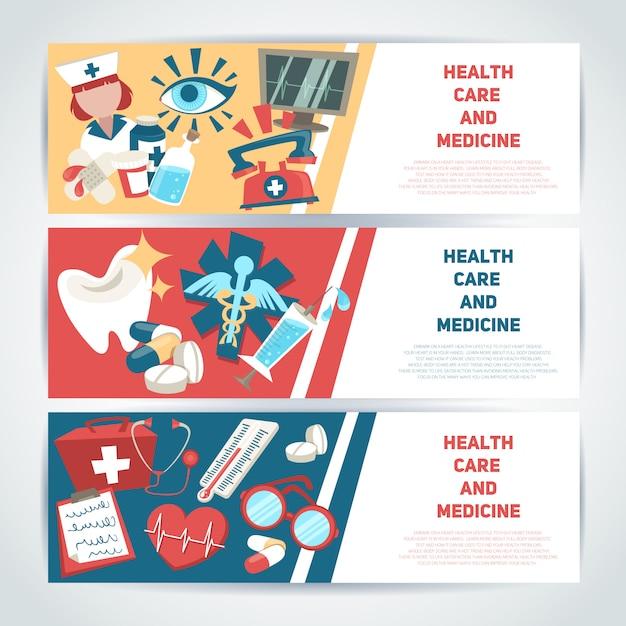 Os cuidados médicos e o grupo horizontal médico do molde da bandeira da medicina isolaram a ilustração do vetor. Vetor grátis
