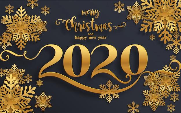 Os cumprimentos do feliz natal e os moldes do ano novo feliz 2020 com inverno bonito e queda de neve modelaram a arte do corte do papel. Vetor Premium