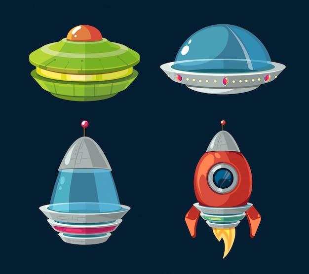 Os desenhos animados da nave espacial e das naves espaciais ajustaram-se para o jogo do computador e do smartphone do espaço. Vetor Premium