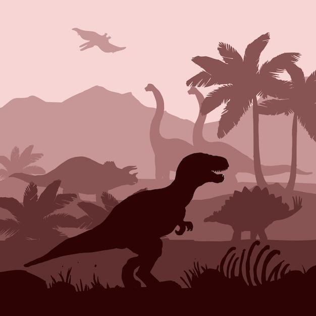 Os dinossauros mostram em silhueta a ilustração da bandeira do fundo das camadas. Vetor grátis