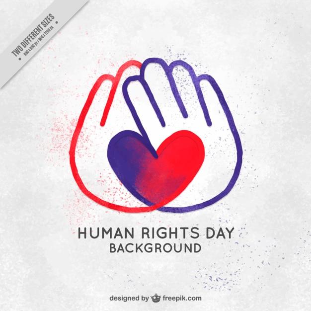 Os direitos humanos dia fundo das mãos com o coração pintado à mão Vetor grátis
