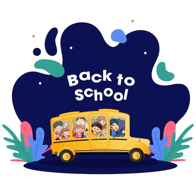 Os estudantes estão indo para a escola de ônibus. Vetor Premium