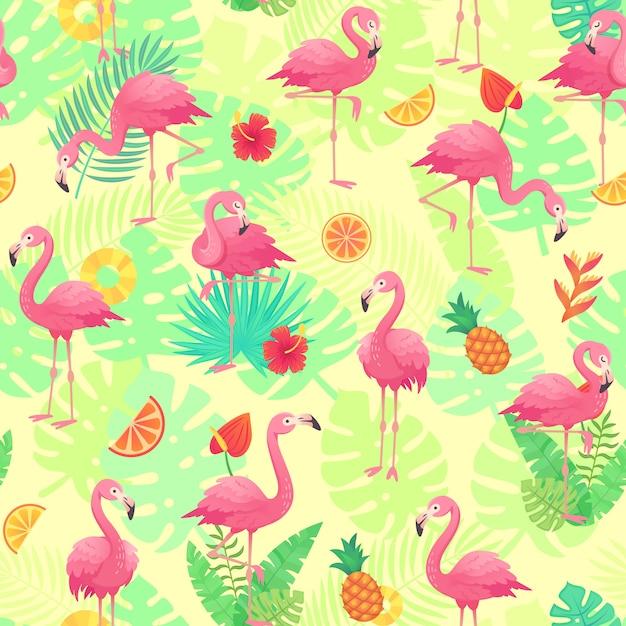 Os flamingos cor-de-rosa exóticos, as plantas tropicais e a selva florescem o monstera e as folhas de palmeira. Vetor Premium
