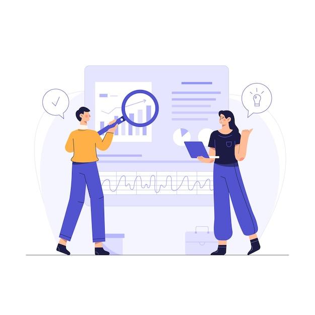 Os funcionários da empresa usam a pesquisa na web para encontrar ideias para fazer negócios para a empresa Vetor grátis