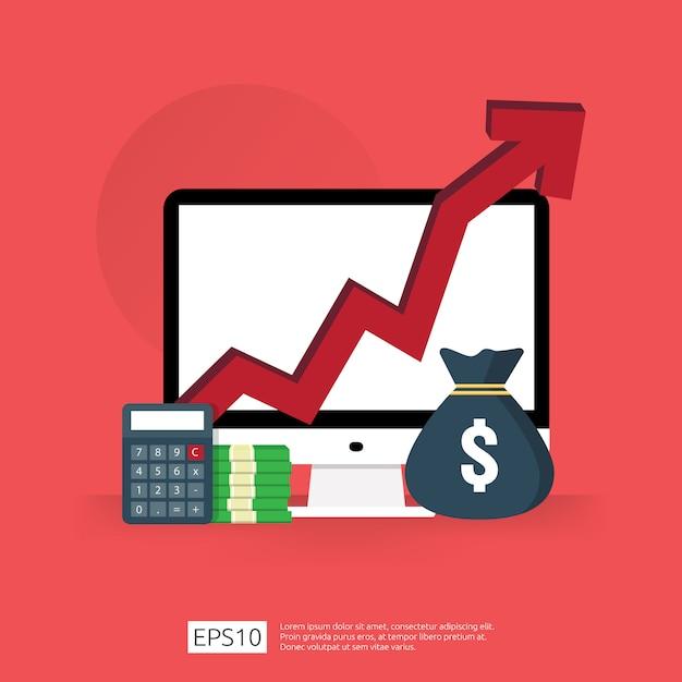 Os gastos com taxas de custo aumentam com a seta subindo no diagrama de crescimento. conceito de redução de dinheiro do negócio. progresso do crescimento do investimento com computador e calculadora Vetor Premium