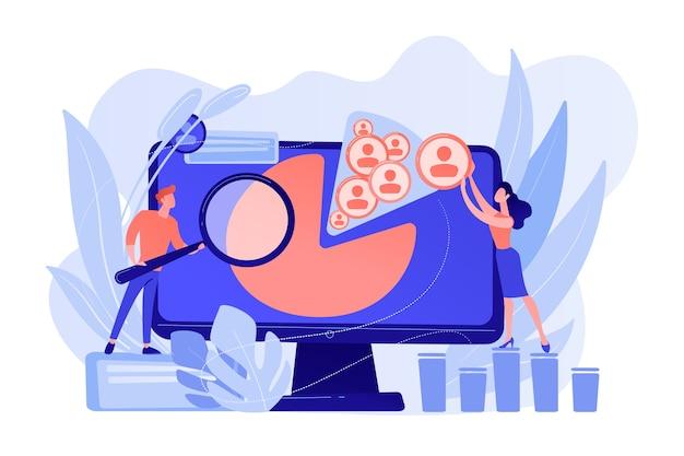 Os gerentes de mídia social trabalham com perfis e plataformas de mídia social. gestão de redes sociais, estratégia de smm da empresa, conceito de ferramenta de marketing digital. ilustração de vetor isolado de coral rosa Vetor grátis