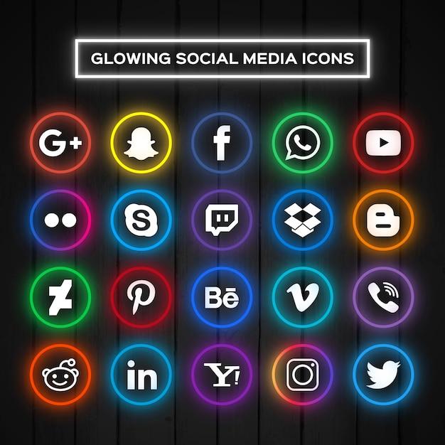 Os ícones brilhantes de mídia social Vetor grátis