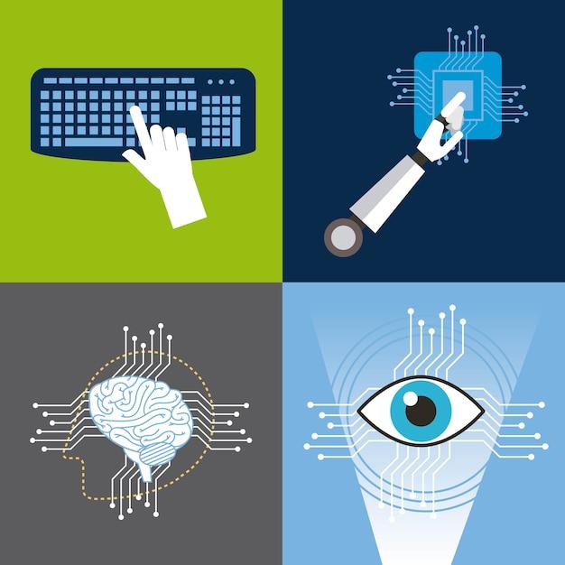 Os ícones da inteligência artificial definem a tecnologia Vetor Premium