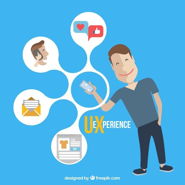 Os ícones do web e menino com um celular Vetor grátis