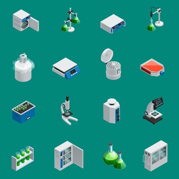 Os ícones isométricos do equipamento científico do laboratório ajustados com ferramentas para a pesquisa natural e os dispositivos altamente tecnologicos isolaram a ilustração do vetor Vetor grátis