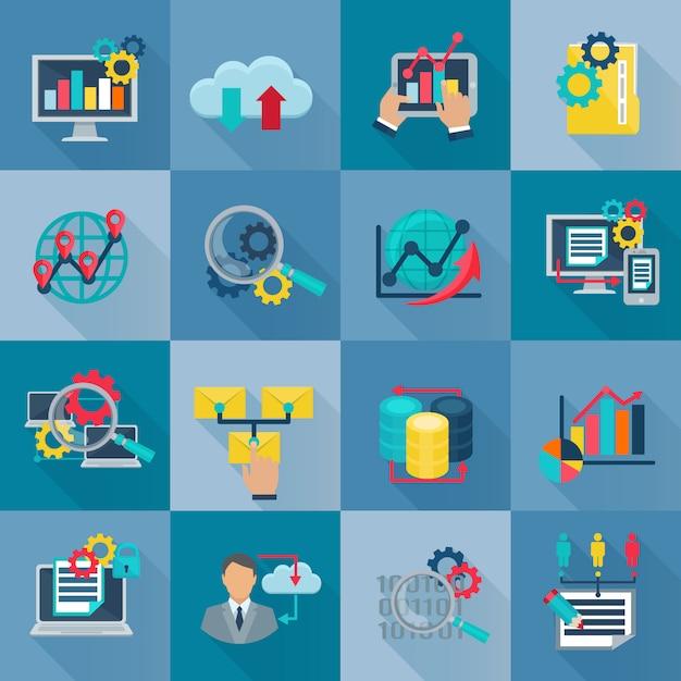 Os ícones lisos da analítica dos dados grandes ajustaram-se com processamento internacional da informação do trabalho em equipe Vetor grátis