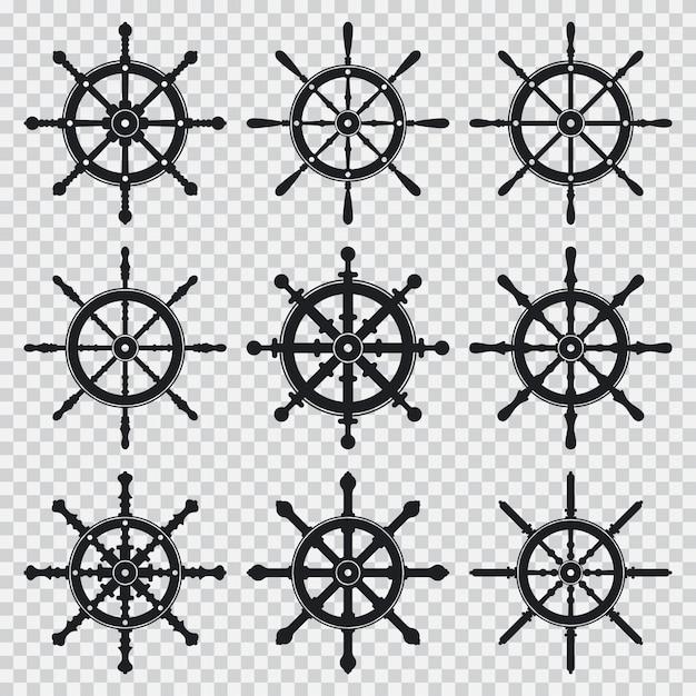 Os ícones pretos da silhueta da roda do navio e do barco ajustaram-se isolado em um fundo transparente. Vetor Premium
