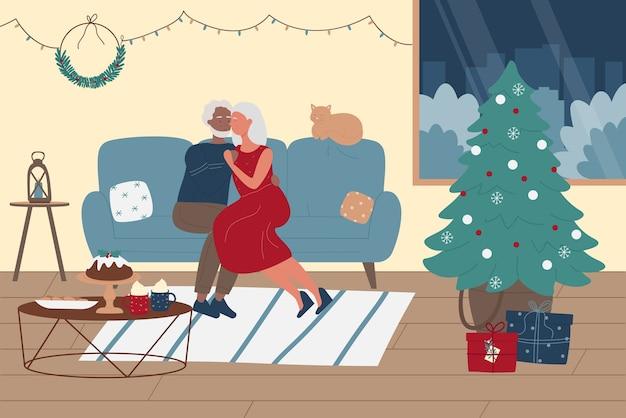 Os idosos passam algum tempo juntos na ilustração do feriado de inverno do natal. Vetor Premium