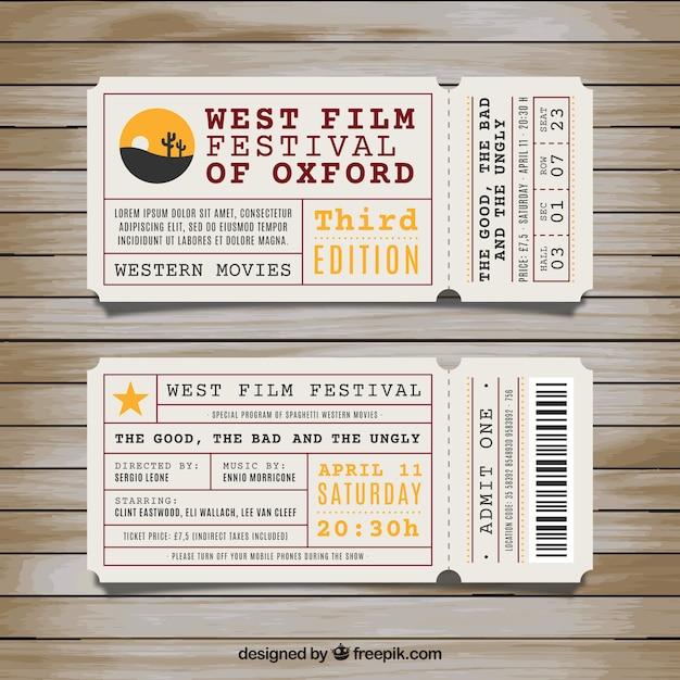 Os ingressos para o festival de cinema oeste Vetor grátis