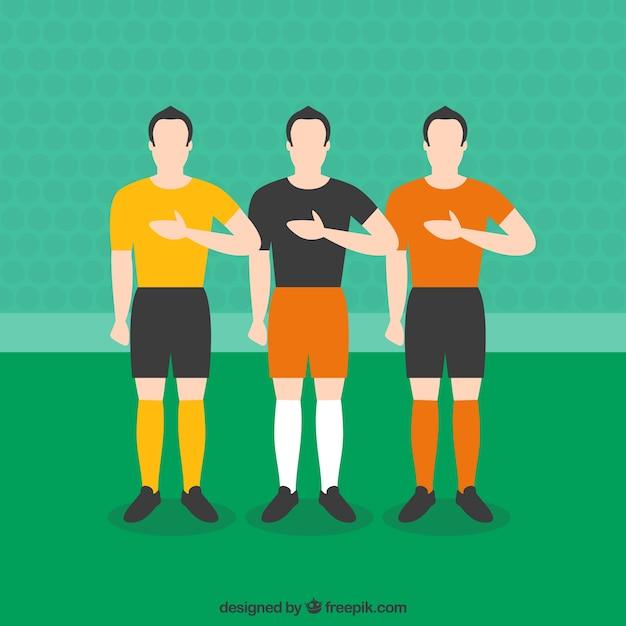 Os jogadores de futebol que escutam o hino Vetor grátis