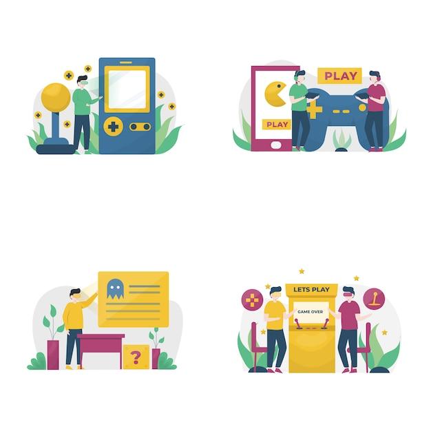 Os jogadores jogam jogos no pc, celular, console e ilustração de vr, Vetor Premium