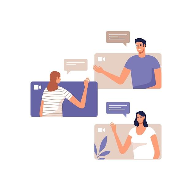 Os jovens se comunicam online usando dispositivos móveis. conceito de videoconferência, trabalho remoto em casa ou reunião online. Vetor Premium