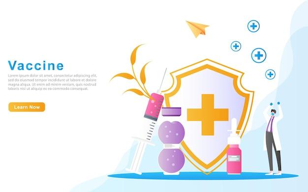 Os médicos estão felizes porque o processo de vacinação conseguiu matar doenças por meio do conceito de vacina injetável. Vetor Premium